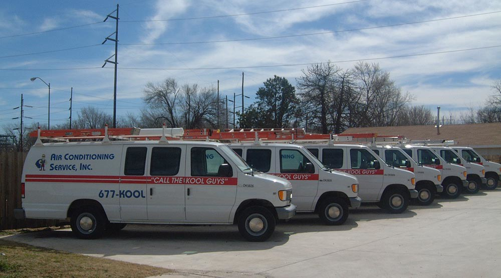 The fleet of vans providing heating and air in Oklahoma City